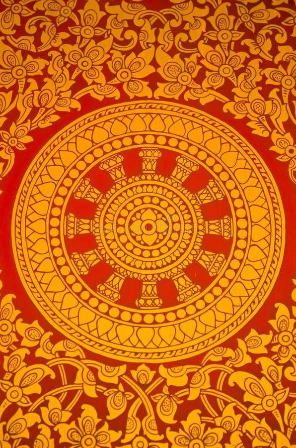thai religiöst symbol för forntida vägg- målning arkivfoto