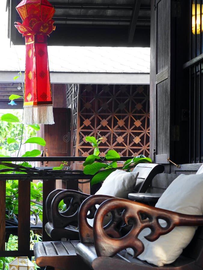 Thai resort balcony royalty free stock photos