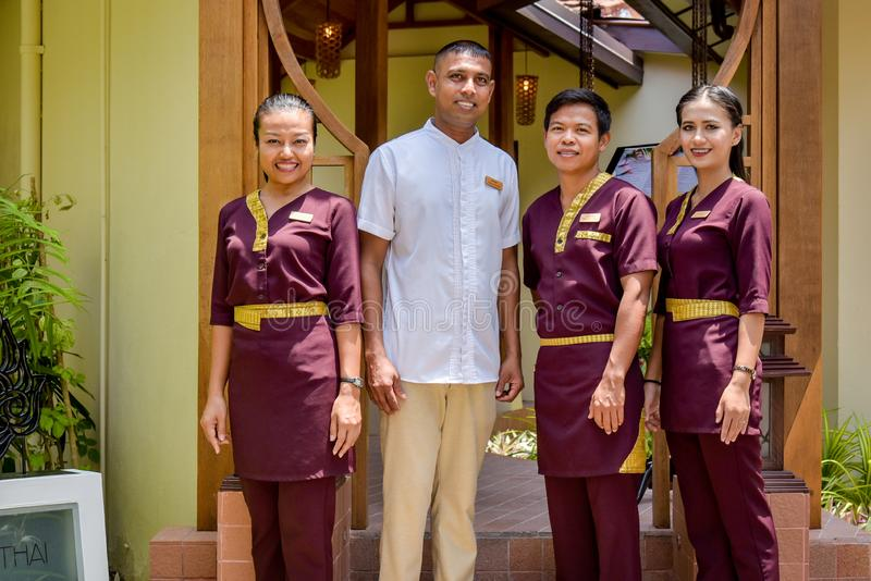 Thai restaurant waiters team in uniform royalty free stock images