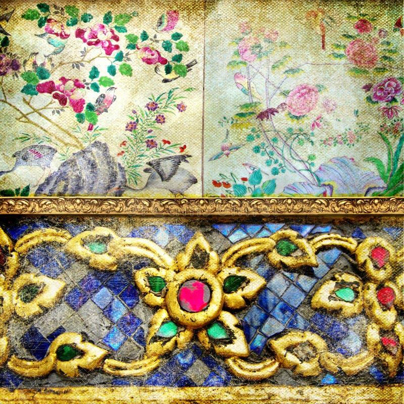 thai retro stil för bakgrund vektor illustrationer