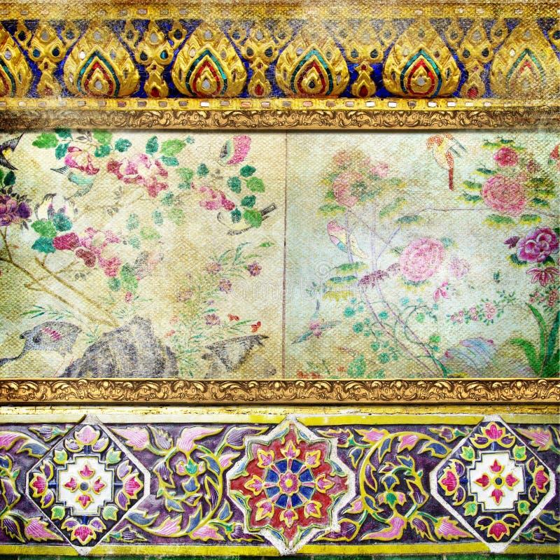 thai retro stil för bakgrund royaltyfri illustrationer