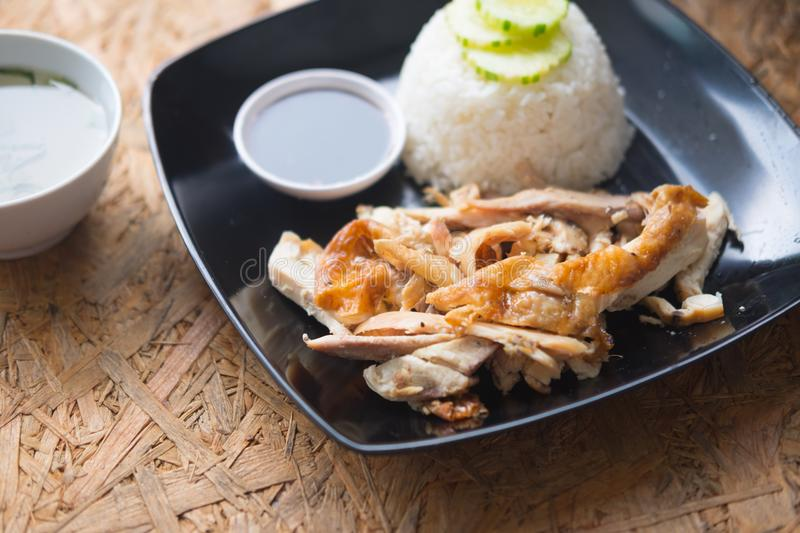 Thai rice with grilled chicken and soup stock image