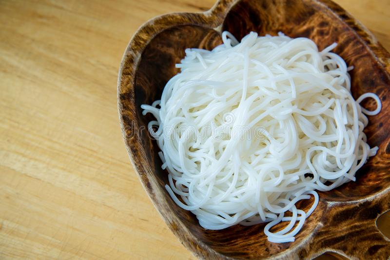 Thai rice noodles.Thai local noodles. the main carbohydrate same as cooked jasmine rice of Thai food set. royalty free stock images