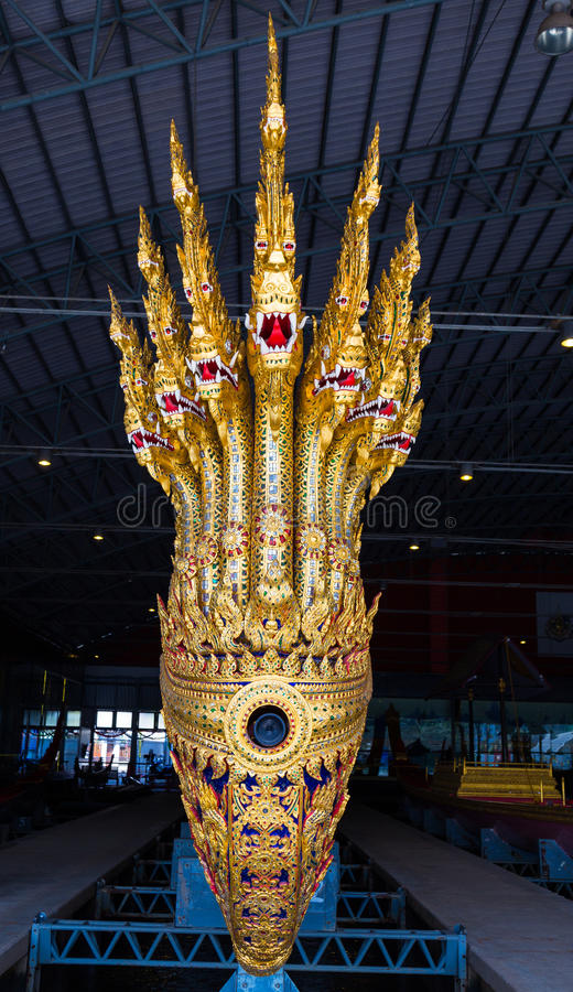 The Thai royal barges are used in the royal family during tradition reliogius procession to royal temple thailand royalty free stock photo