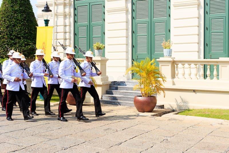 Thai Royal Guards Marching in the Royal Grand Palace, Bangkok. stock photography