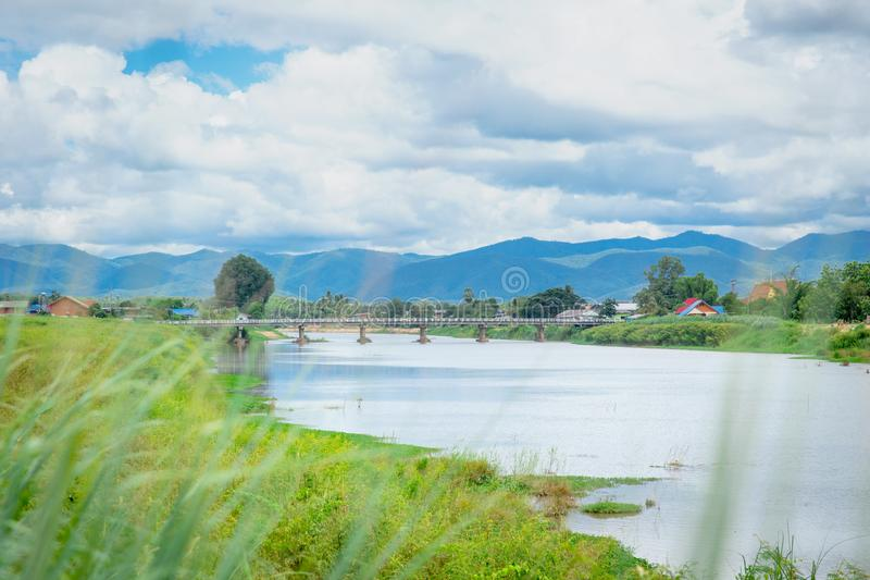 Thai rural countryside beautiful landscape of river. Mountain blue sky and cloud stock images