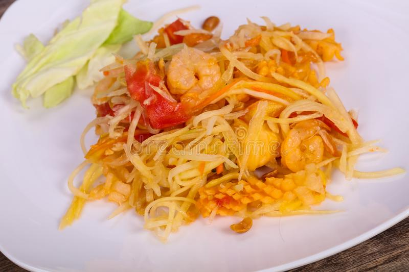 Thai salad with papaya and prawn royalty free stock photography