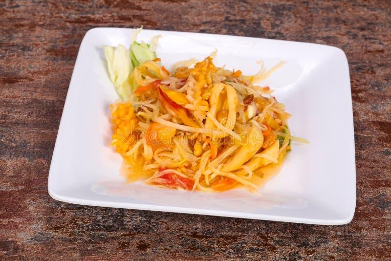 Thai salad with papaya and prawn stock photo
