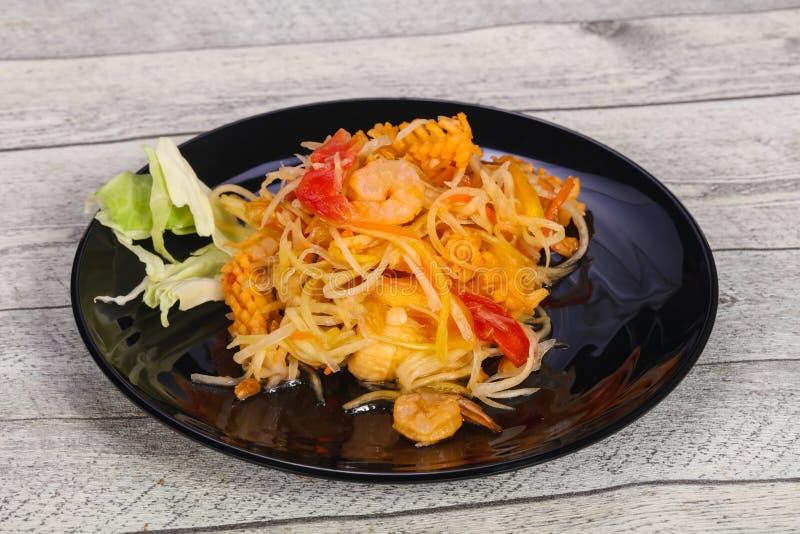 Thai salad with papaya and prawn royalty free stock photos