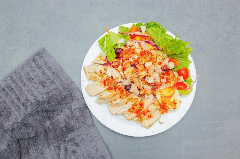 Thai Salad with Spicy Salad Dressing stock photography