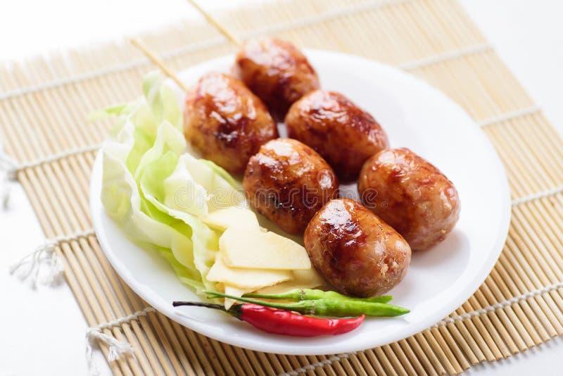 Thai sausage Isan sausage, Thai food royalty free stock images