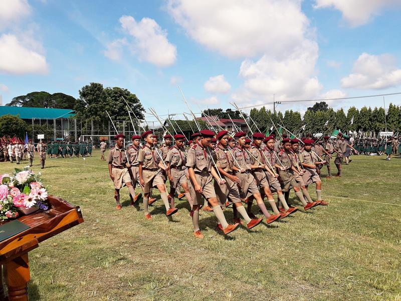 Thai scouts are parading stock photo