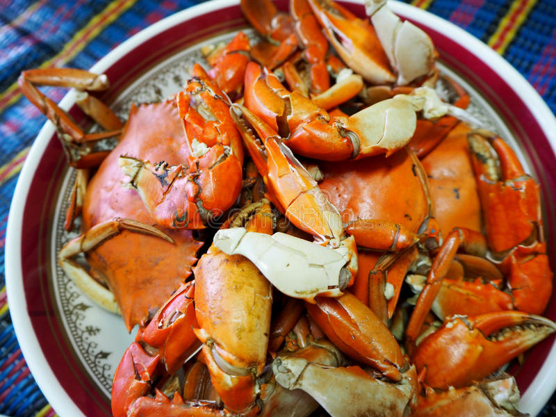 Thai seafood; delicious steamed crab stock photo