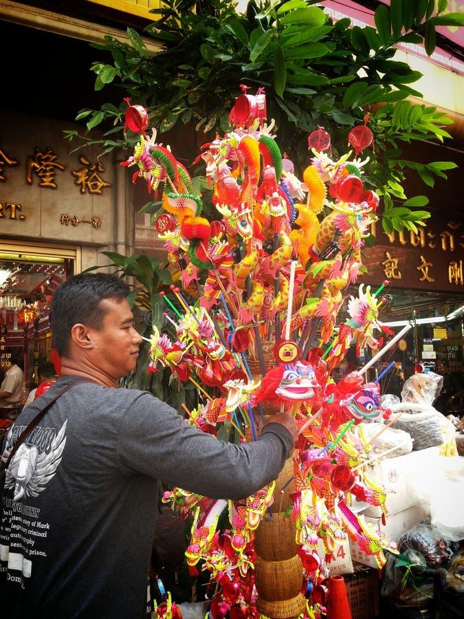 Thai seller at chinatown. Chinese new year 2015 bangkok thailand royalty free stock photography
