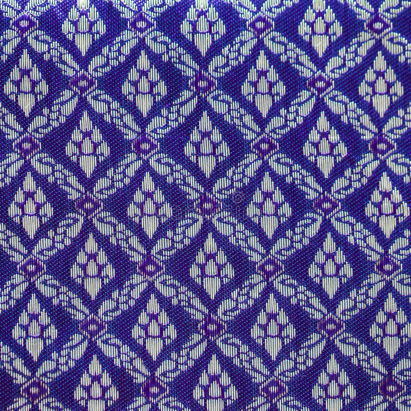 Thai silk blue pattern,Thailand textile style royalty free stock images