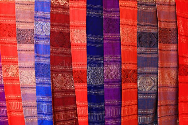 Thai silk close-up. Scarf background stock photo