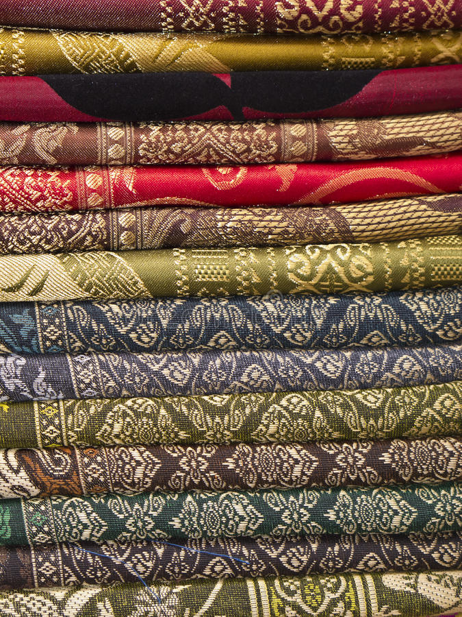 Download Thai Silk Fabric Folded And Stacked Stock Image - Image: 20023741
