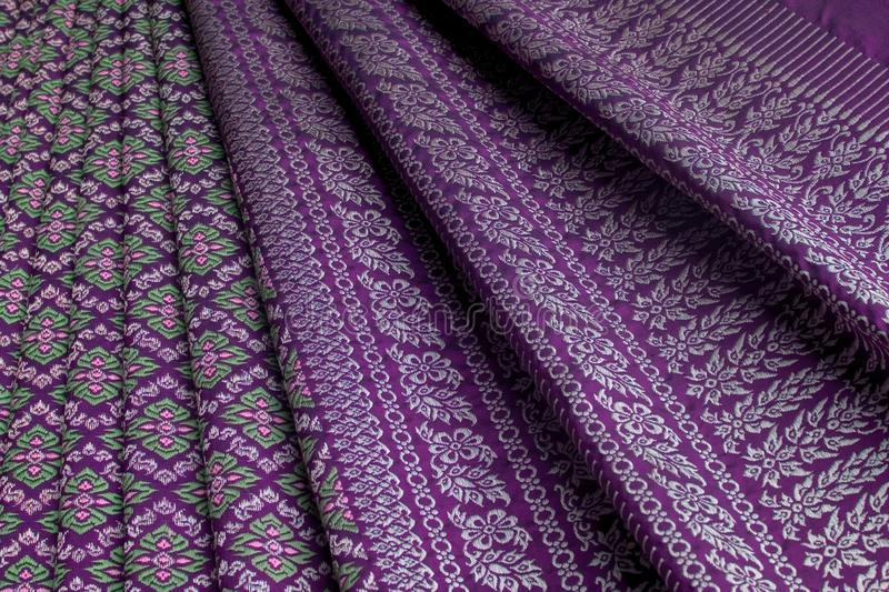 Thai silk pattern, design, texture, thread, cocoon, tool and equipment royalty free stock photos