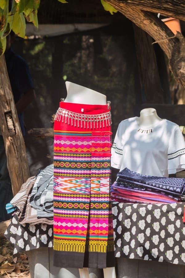 thai silk skirt on hanger stock photo