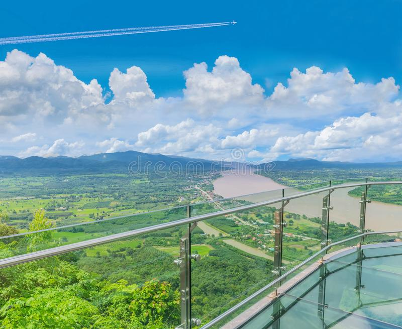 Thai skywalk, the beautiful sky and cloud at Mekong river, international border between Sangkhom district, Nong Khai Province, Tha. Soft focus Thai skywalk, the stock images