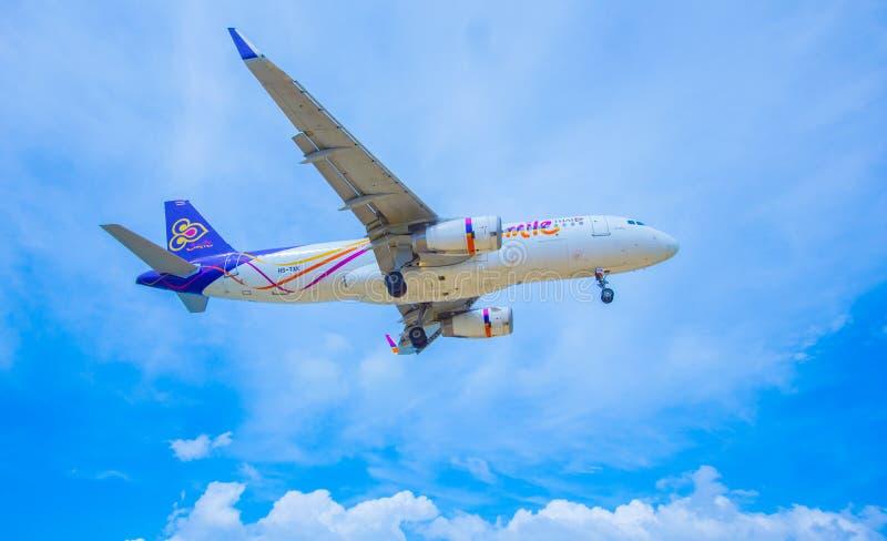 Thai Smile Airway. Landing at Phuket Airport 13 November 2016 1:49 PM royalty free stock photography