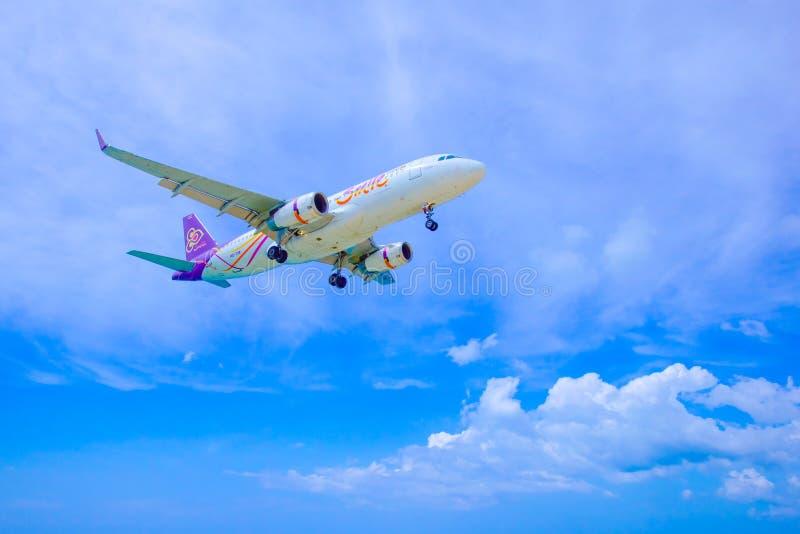 Thai Smile Airway. Landing at Phuket Airport 13 November 2016 1:49 PM royalty free stock photos