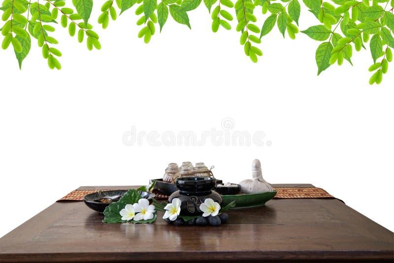 Thai spa massage setting herbal compress balls, essential oil bo royalty free stock image