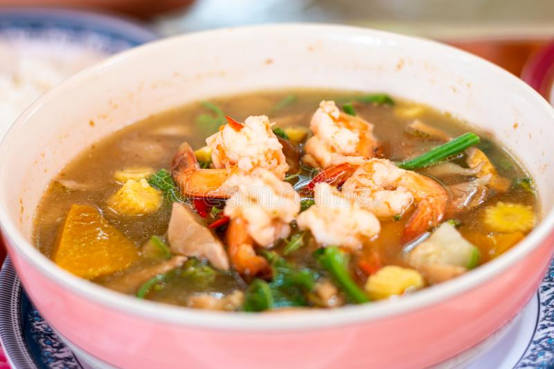 Thai Spicy Mixed Vegetable Soup with Prawns Kaeng Liang Goong Sod.  stock images