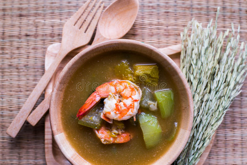 Thai Spicy Mixed Vegetable Soup with Prawns Kang Liang Goong Sod. Thai Spicy Mixed Vegetable Soup with Prawns stock image