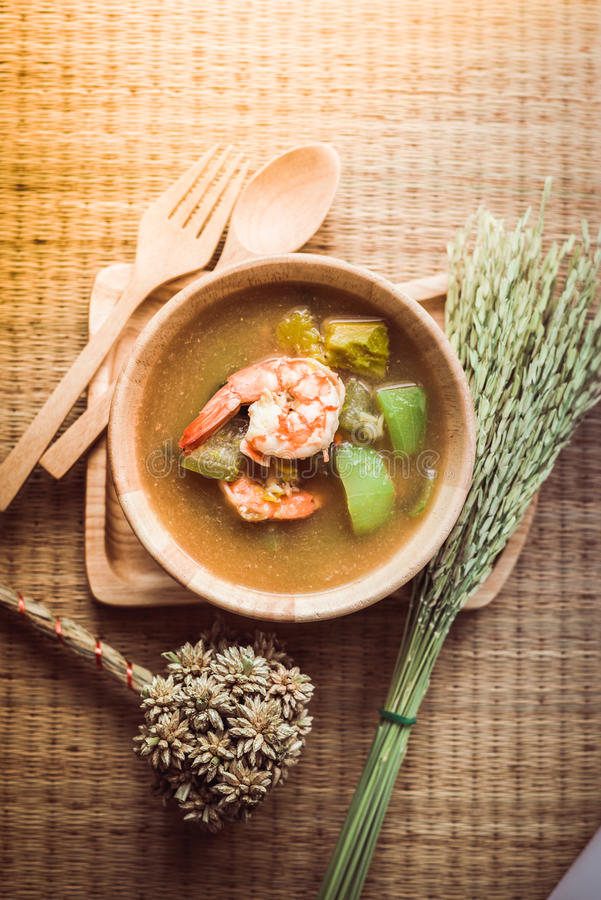 Thai Spicy Mixed Vegetable Soup with Prawns Kang Liang Goong Sod. Thai Spicy Mixed Vegetable Soup with Prawns royalty free stock images