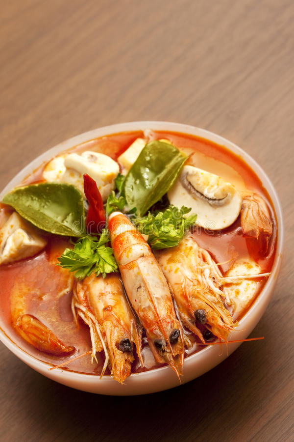 Thai Spicy Prawn Soup (Tom Yum). Tom Yum soup, a Thai traditional spicy prawn soup royalty free stock photography