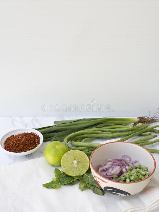 Thai spicy salad ingredient royalty free stock photography