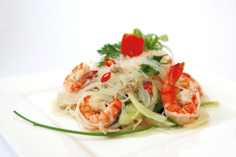 Thai spicy seafood salad royalty free stock image