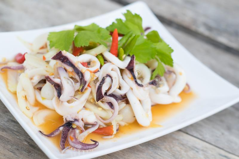 Thai Spicy Squid Salad royalty free stock photography
