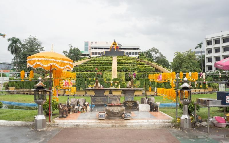 Thai spiritual prayer area for King Ramkhamhaeng, is iconic landmark at Ramkhamhaeng University. BANGKOK, THAILAND. – On July 26, 2018 - Thai royalty free stock photography