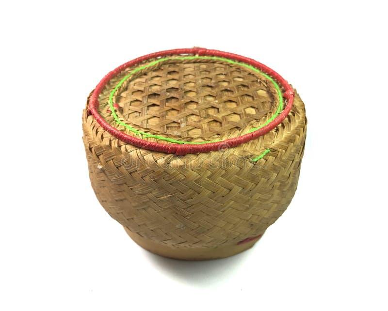 Thai sticky rice serving basket isolated on white background stock image