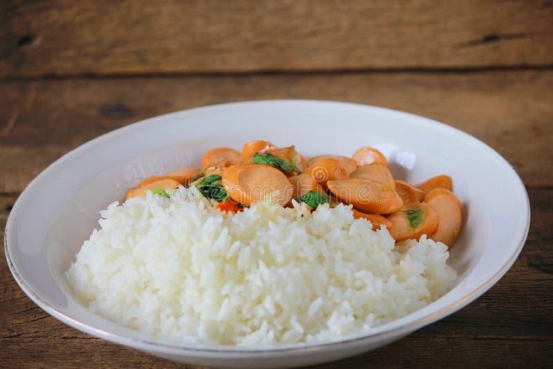 Thai Stir Fry Sausage with Basil Recipe. Thaifood royalty free stock photography