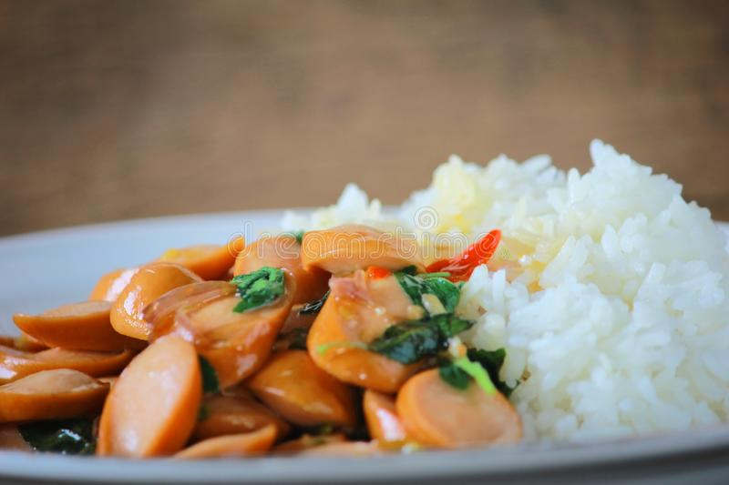 Thai Stir Fry Sausage with Basil Recipe. In thaifood royalty free stock images