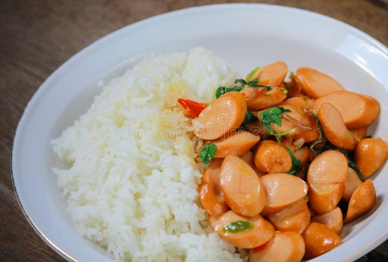 Thai Stir Fry Sausage with Basil Recipe. In thaifood stock image