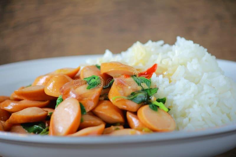 Thai Stir Fry Sausage with Basil Recipe. In thaifood stock photos