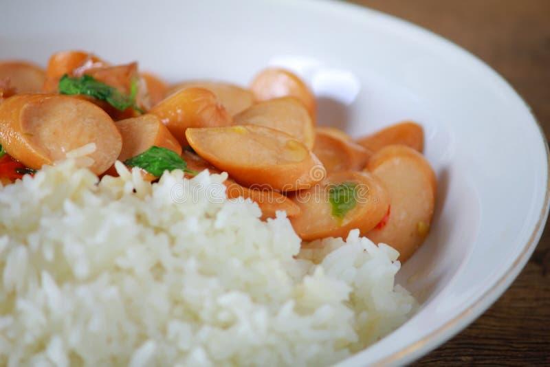 Thai Stir Fry Sausage with Basil Recipe. In thaifood stock photo