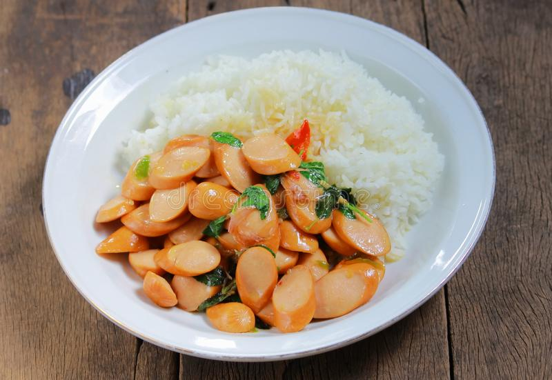 Thai Stir Fry Sausage with Basil Recipe. In thaifood stock images