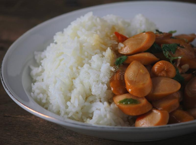Thai Stir Fry Sausage with Basil Recipe. Thaifood royalty free stock images