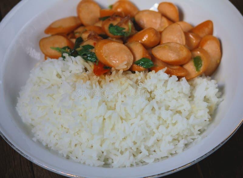 Thai Stir Fry Sausage with Basil Recipe. In thaifood royalty free stock image