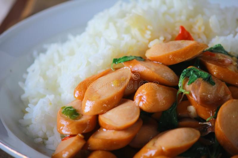 Thai Stir Fry Sausage with Basil Recipe. In thaifood royalty free stock photography