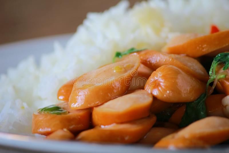 Thai Stir Fry Sausage with Basil Recipe. In thaifood royalty free stock photo
