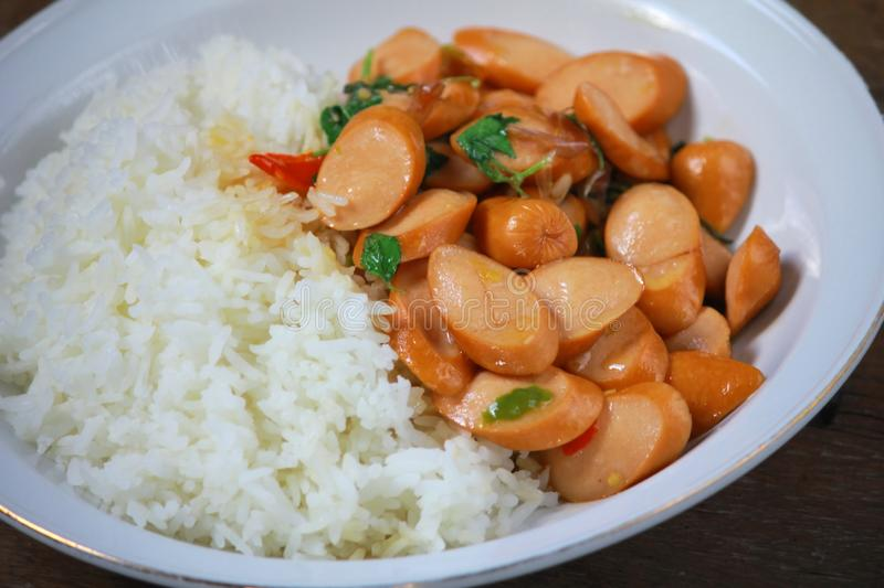 Thai Stir Fry Sausage with Basil Recipe. In thaifood stock photography