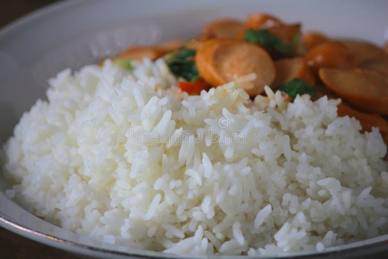 Thai Stir Fry Sausage with Basil Recipe. In thaifood royalty free stock photos