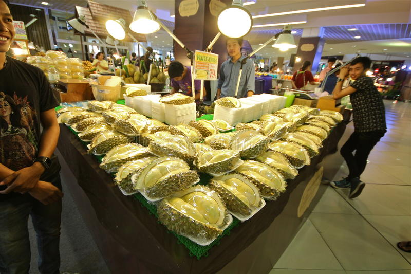 Thai street foods in the market mall Durian royalty free stock photos