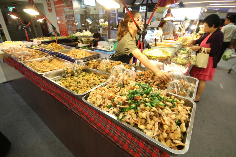 Thai street foods in the market mall stock images